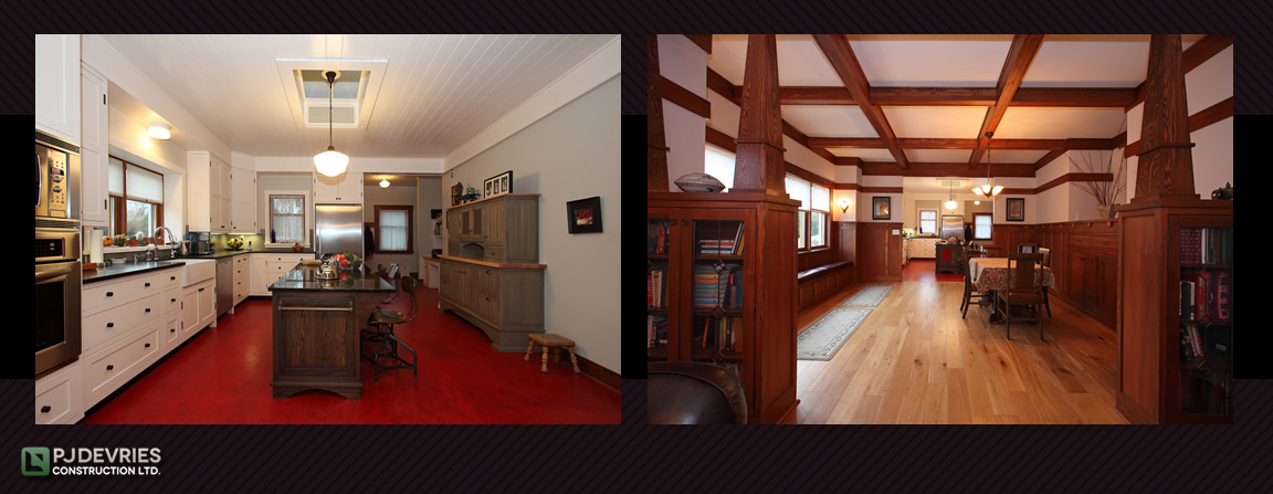 A 1920's revival Craftsman with planked ceilings custom cabinets and built-in furniture
