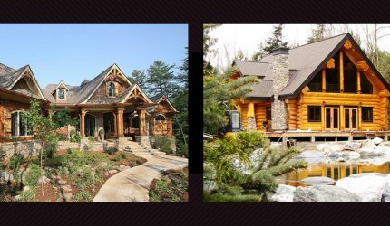 Exterior mountain chalet and cottage getaway Log Home / Timber Chalet Architectural Style