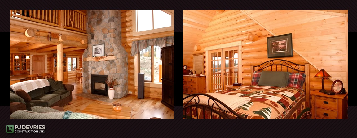 interiors bedroom and living room with fireplace Log Home / Timber Chalet Architectural Style