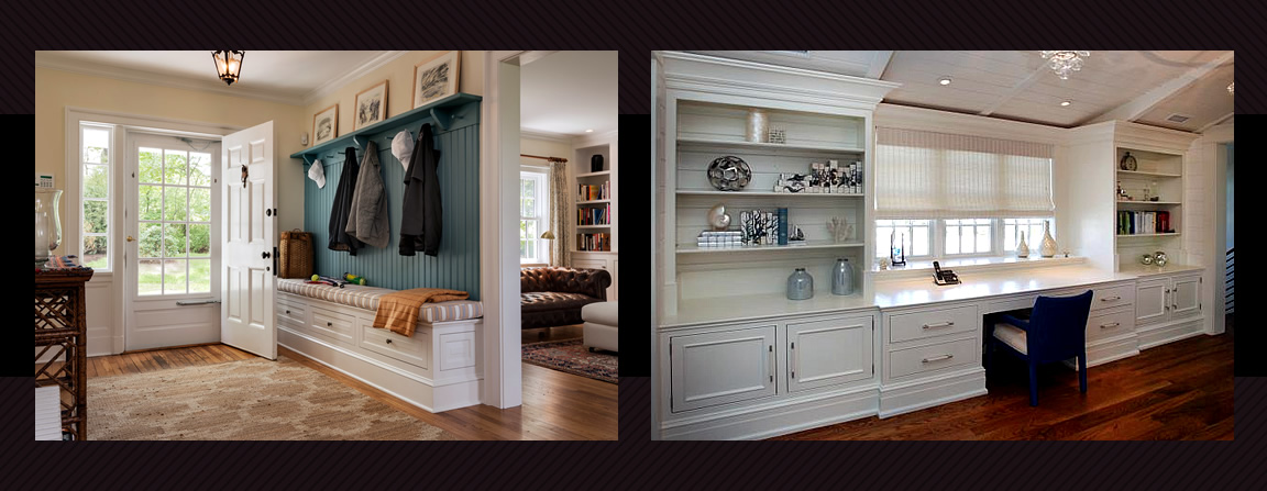 Mudroom with storage and Office with built-in desk, shelving & drawers